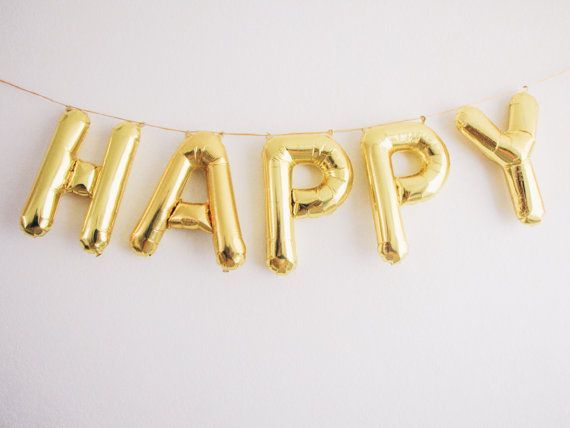 HAPPY gold foil mylar letter balloon banner garland. Lightweight and can be easily displayed on walls, tables, and outdoors.    ** balloons are