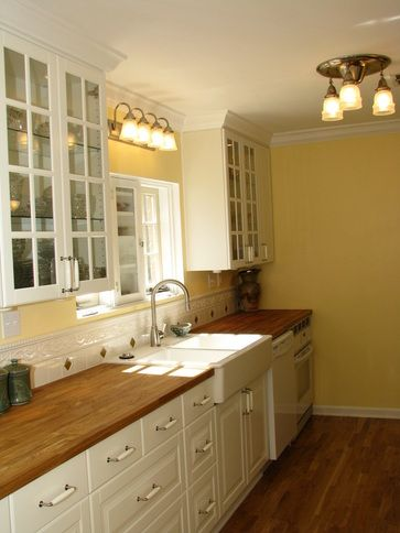 Ikea white kitchen cabinets + butcher block countertop