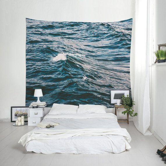 Ocean Tapestry Dark Blue Decoration Beach House by Macrografiks