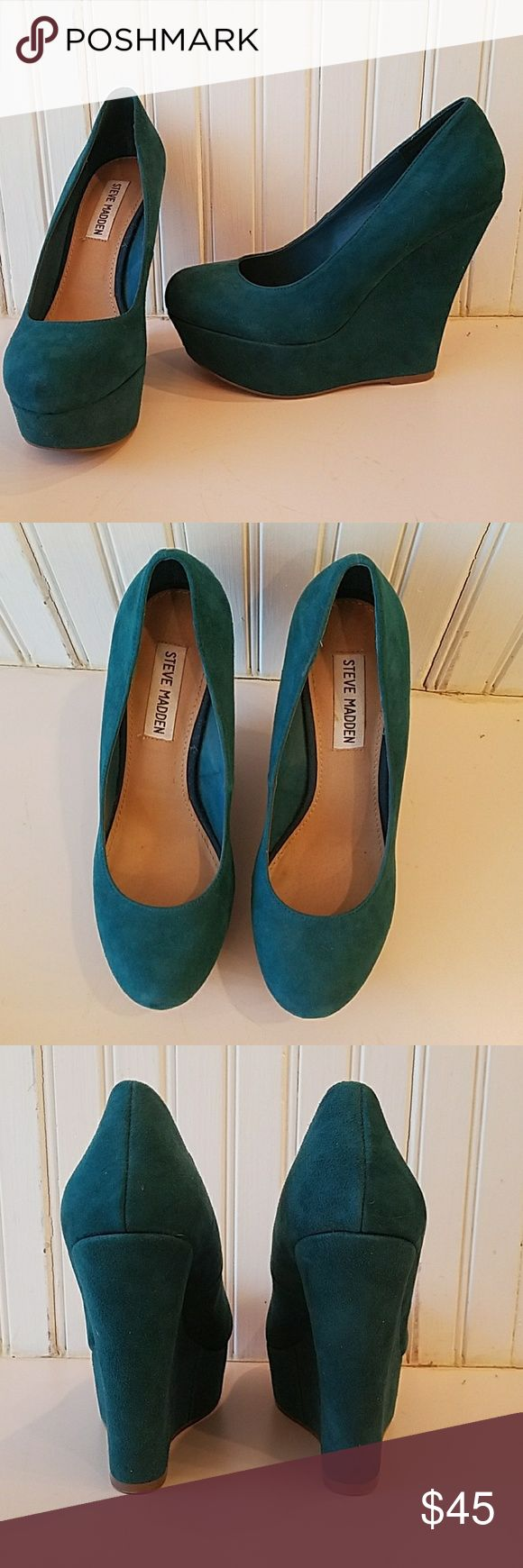 Steve Madden teal suede platform pumps These beautiful Steve Madden Pammyy pumps were only worn once. Teal suede, 5in heel with 1.5in platform. Genuine leather upper with man-made sole. Perfect with skinny jeans or dresses! Steve Madden Shoes Wedges