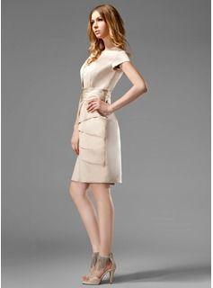 Vestido tubo Escote Cuadrado Altura de la rodilla Satén Estilo Kate Middleton con Volantes (044020783) - JJsHouse