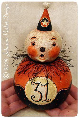 Lucky-Lumina by Johanna Parker Design, via Flickr: Johanna Parker, Vintage Halloween, Folk Art, Halloween Crafts, Hallows Eve, Fall Halloween, Halloween Style, Halloween Clowns, Halloween Art
