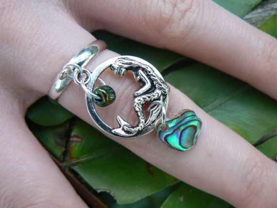 mermaid charm ring abalone mermaid  siren pendant by gildedingypsy