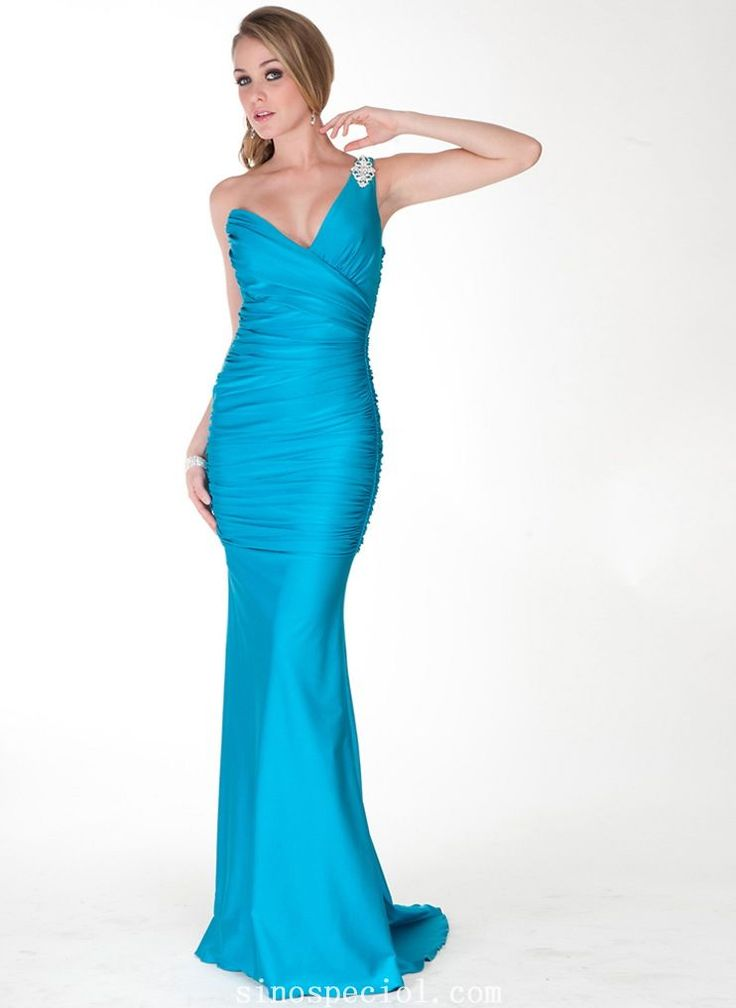 Chic Sheath/Column One-shoulder Sweep Train Matte Satin Evening Dress