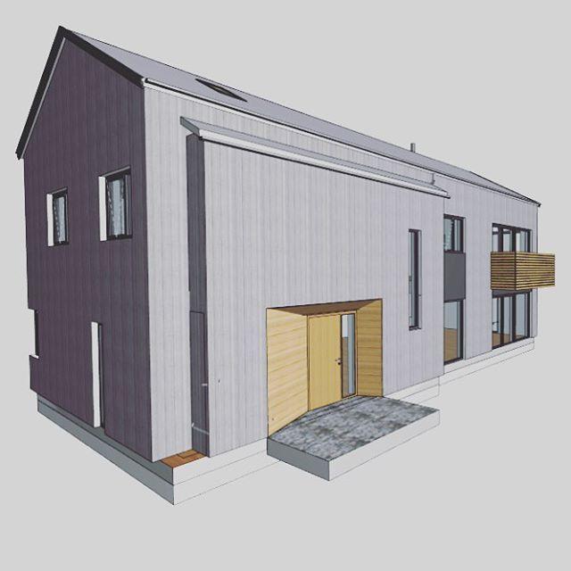 #fasade 🏡 likte arkitektens løsning på inngangspartiet. En skrånende vegg til venstre slik at det virker mer åpent. Blir nok en glassbaldakin over der også på sikt 👍🏼 kledningen i innhuket blir i smalere plank og i en varmere farge enn resten av huset. ✌🏼️ #husbyggere #nytthus