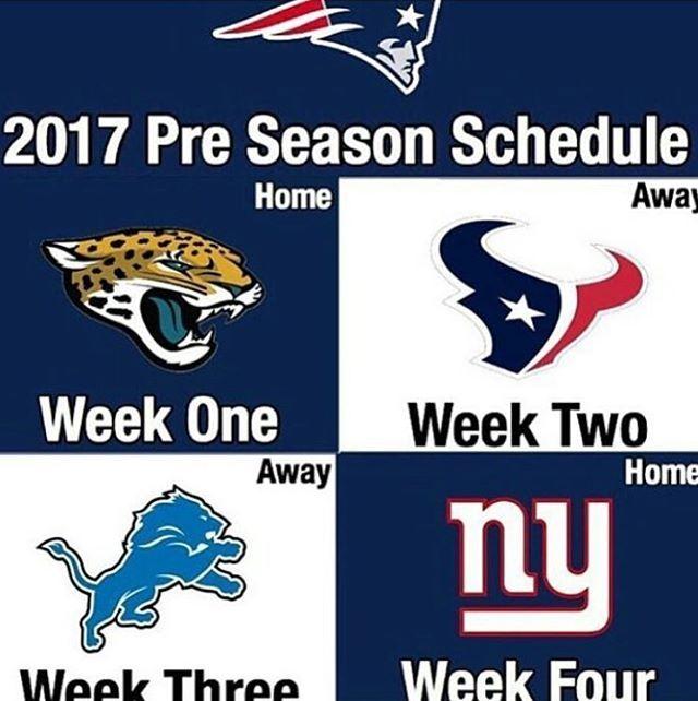 Patriots preseason schedule!  #patriots #patriotspride #patriotsallday #gopatriots #gillettestadium #patriotsfan #driveforfive #superbowl51 #onemore #superbowl51champs
