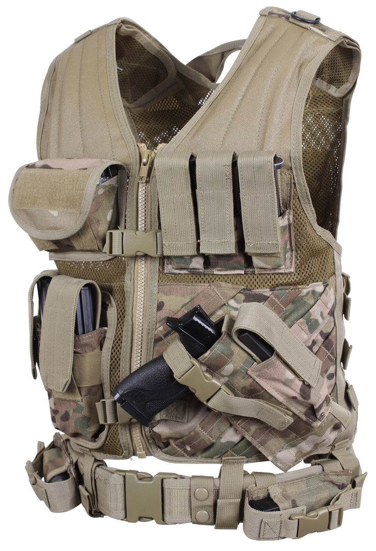 Cross Draw MOLLE Tactical Vest - Multicam