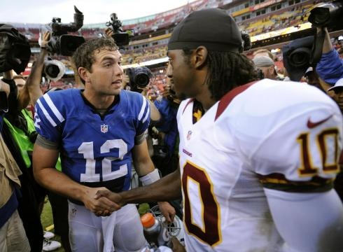 """""""Luck, Griffin impress; Redskins top Colts"""" USA Today (August 25, 2012)"""