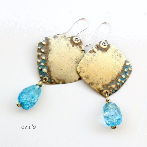 Aqua Crackle Quartz Brass Square Sterling by EVIsMetalworkJewelry, €27.00