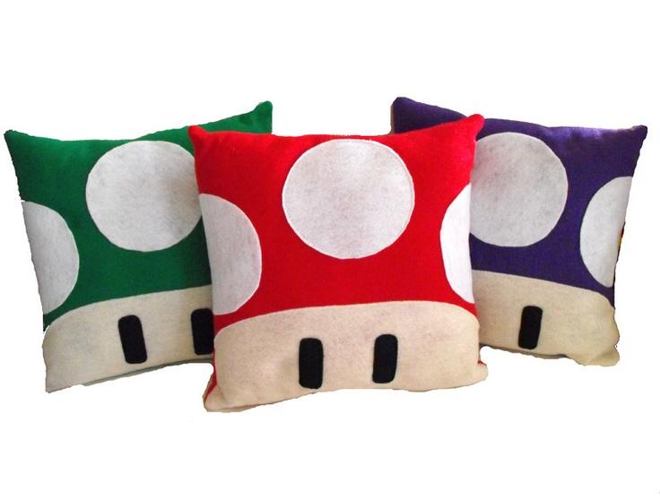 Red Green OR Purple Mushroom Pillow - For Men and Women, Teens, Boys and Girls by nokomomo. $20.00, via Etsy.
