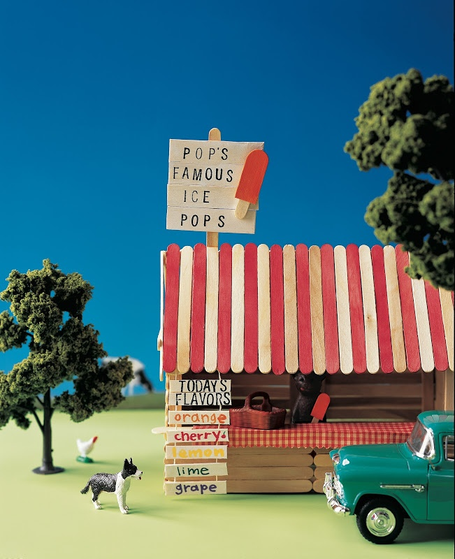 Popsicle Stick Popsicle Stand: Wooden craft sticks stand in for logs and boards in this old-fashioned ice-pop stand. The book features a whole town's worth of craft-stick creations.