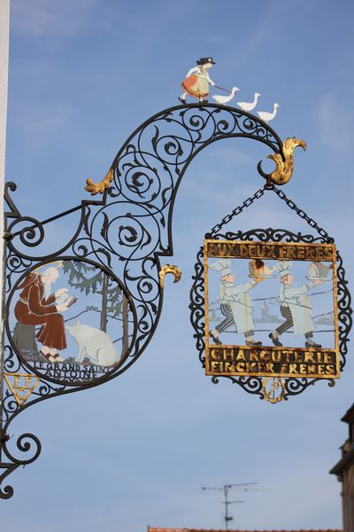 Wrought iron sign for a Charcuterie - Colmar, Alsace, France