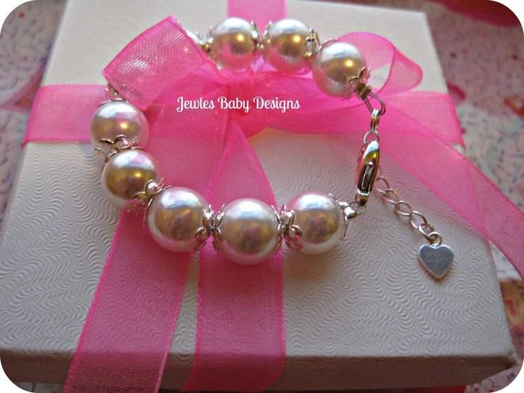 Baby Gifts Jewellers : Infant jewelry swarovski white pearl baby bracelet