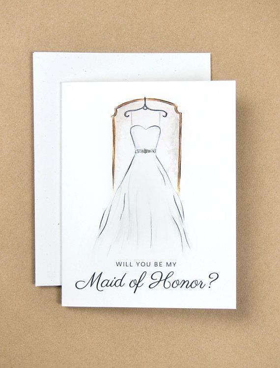 Will You Be My Maid of Honor Card by KaraEndres on Etsy