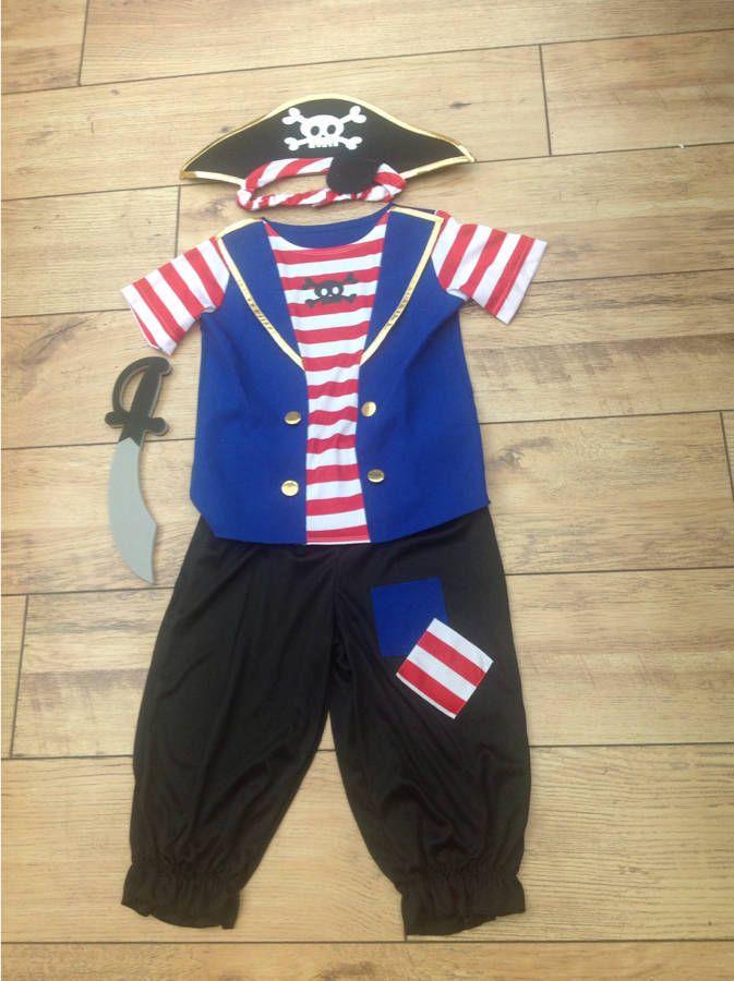 Fancy Dress Costume Boys Pirate Dress Up gae 7/8 years Hat & Sword Book day