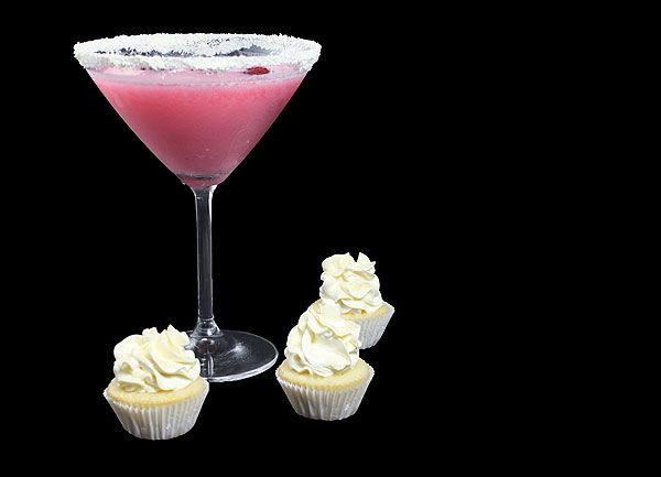 White Chocolate Raspberry Martini with mini White Chocolate Cupcakes.