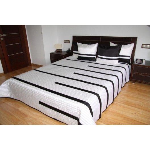Luxusní přehozy na postel v bílé barvě s černými proužky - dumdekorace.cz