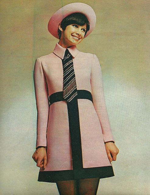Cute dress? Check! Cute hat? Check! Cute tie? Check! Cute smile? Check! #1960s (Ted Lapidus, French Vogue April 1969)   via Classic Style of Fashion (First)