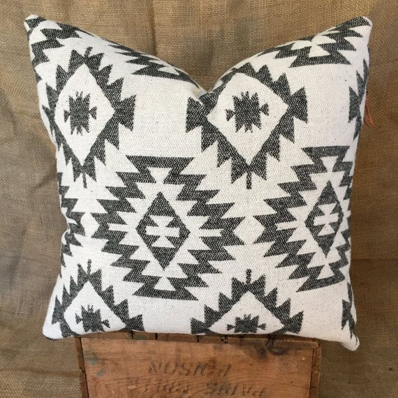 Southwestern Pillow Case, Navajo, Native American Print, Boho Pillows, Black and White Throw Pillows, Tribal Décor