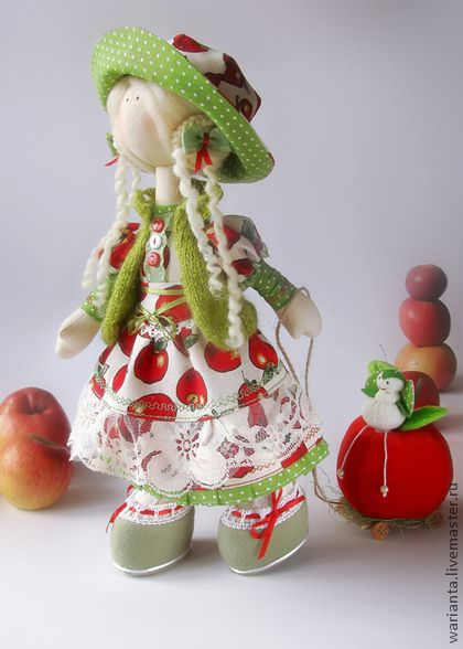 Sběratelské ruční panenky.  Fair Masters - ruční panenka textilní.  Bolshenogaya dívka.  Apple Greta.  Handmade.