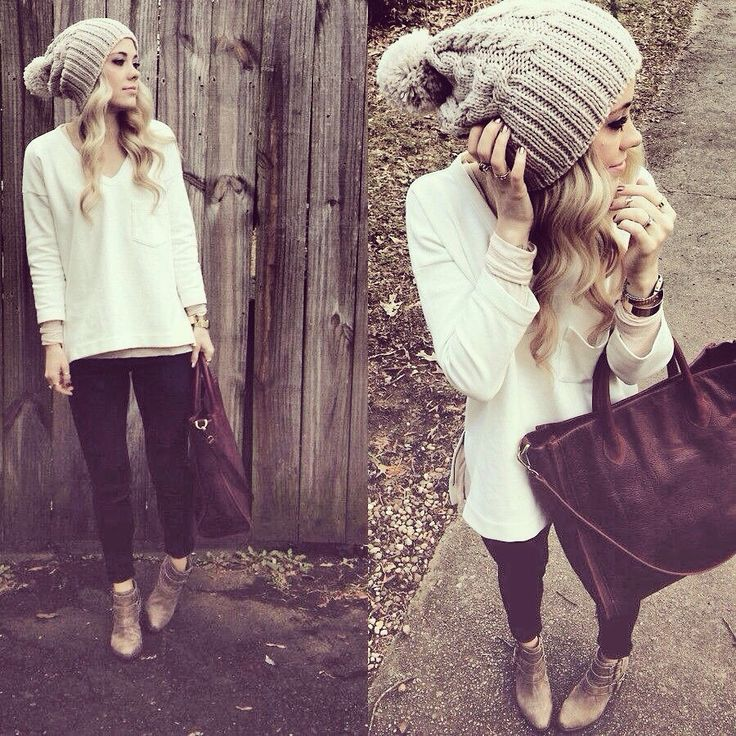 Cute winter outfit woolen grey pom pom beanie maroon leggings big knitted white wooly jumper