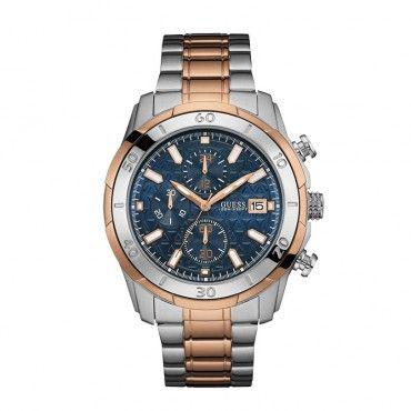 W0746G1 Ανδρικό μοντέρνο sport ρολόι GUESS με χρονογράφο, μπλε καντράν και ατσάλινο-ροζ χρυσό μπρασελέ | Ανδρικά ρολόγια GUESS ΤΣΑΛΔΑΡΗΣ στο Χαλάνδρι #Guess #μπλε #μπρασελε #ανδρικο #ρολοι