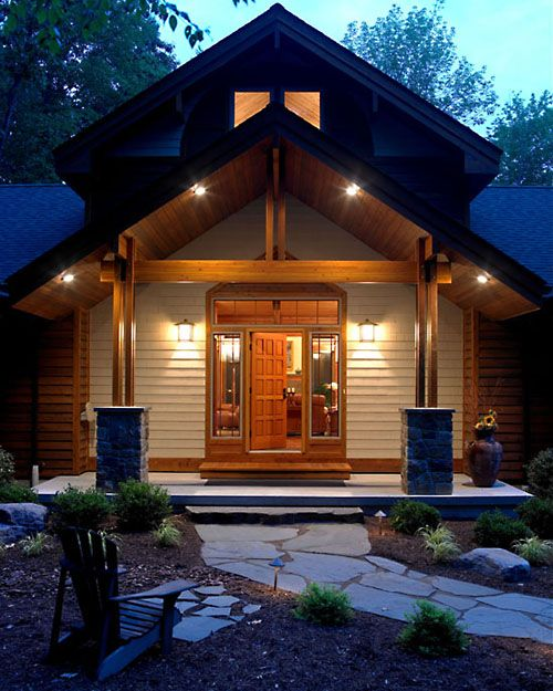 Craftsman Style Home Decorating Ideas: Simple Entry, Massive Post Bases.