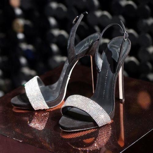 Details About Authnib Giuseppe Zanotti Sophie Crystal Embellished Black Slingback Sandals 37 5 In 2019 Shoes Giuseppe Zanotti Giuseppe Zanotti Heels Heels