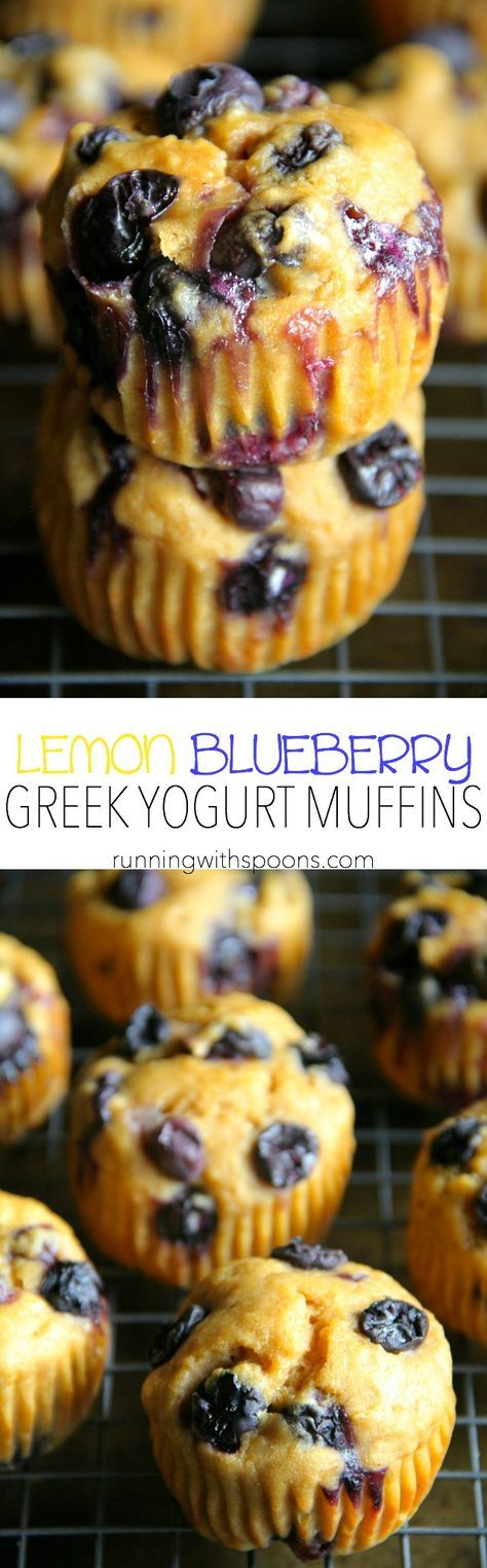 Lemon Blueberry Greek Yogurt Muffins -- soft and tender muffins made with Greek yogurt and loaded with blueberries. These healthy muffins make a PERFECT breakfast or snack!    runningwithspoons.com