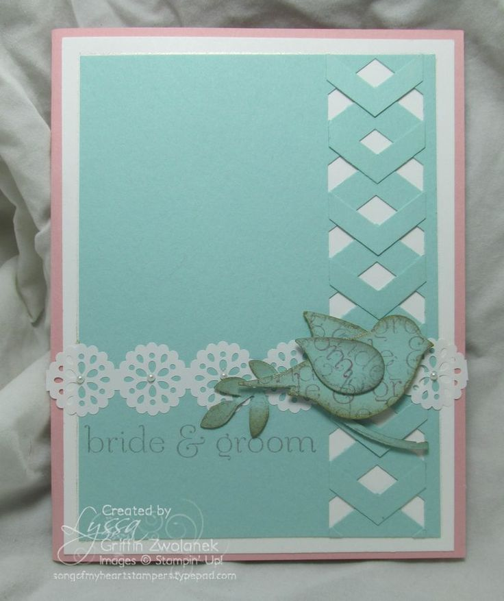 cardmaking photo tutorial ... fancy bords with the Chevron Punch: Part Two .,.. aqua and white ... two step bird punch ... lacy ribbon band ... fun trellis look ... by Lyssa Griffin Zwolanek ... Stampin' Up!
