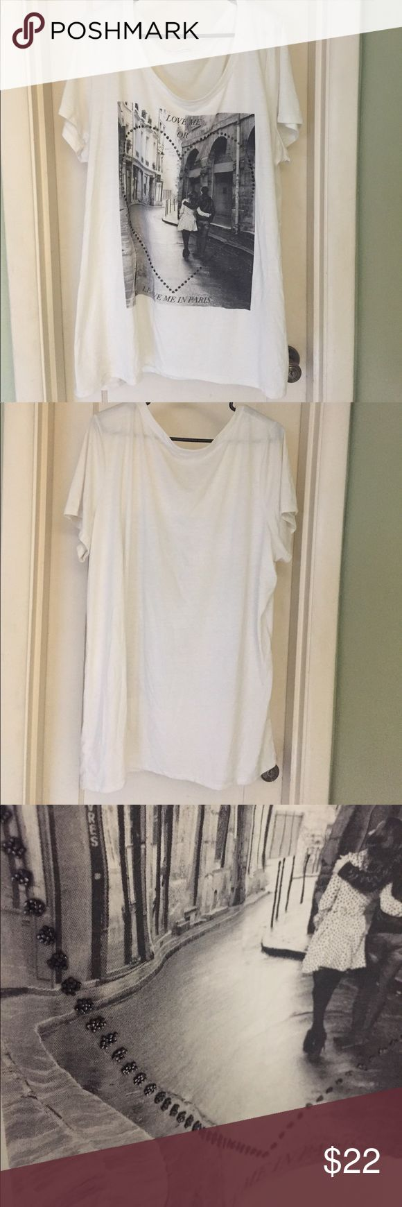 NWOT Maurices' Love me or leave me in Paris Shirt Nice, light material. All around a really cute shirt. This shirt has never been worn but I did take the tags off when I had gotten it. Maurices Tops Tees - Short Sleeve