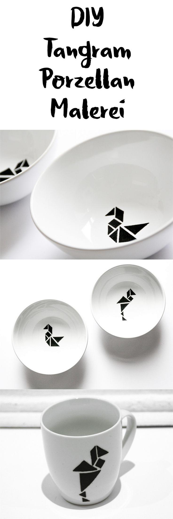 DIY Porzellan bemalen mit Tangram Geschenkidee || DIY porcelain painting with tangram || black and white || Scandinavian Design
