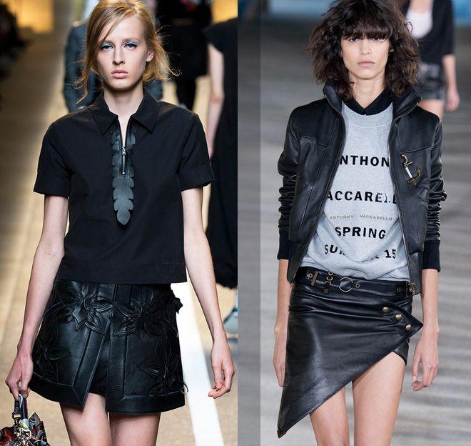 кожаные мини-юбки Fendi, Anthony Vaccarello весна 2015