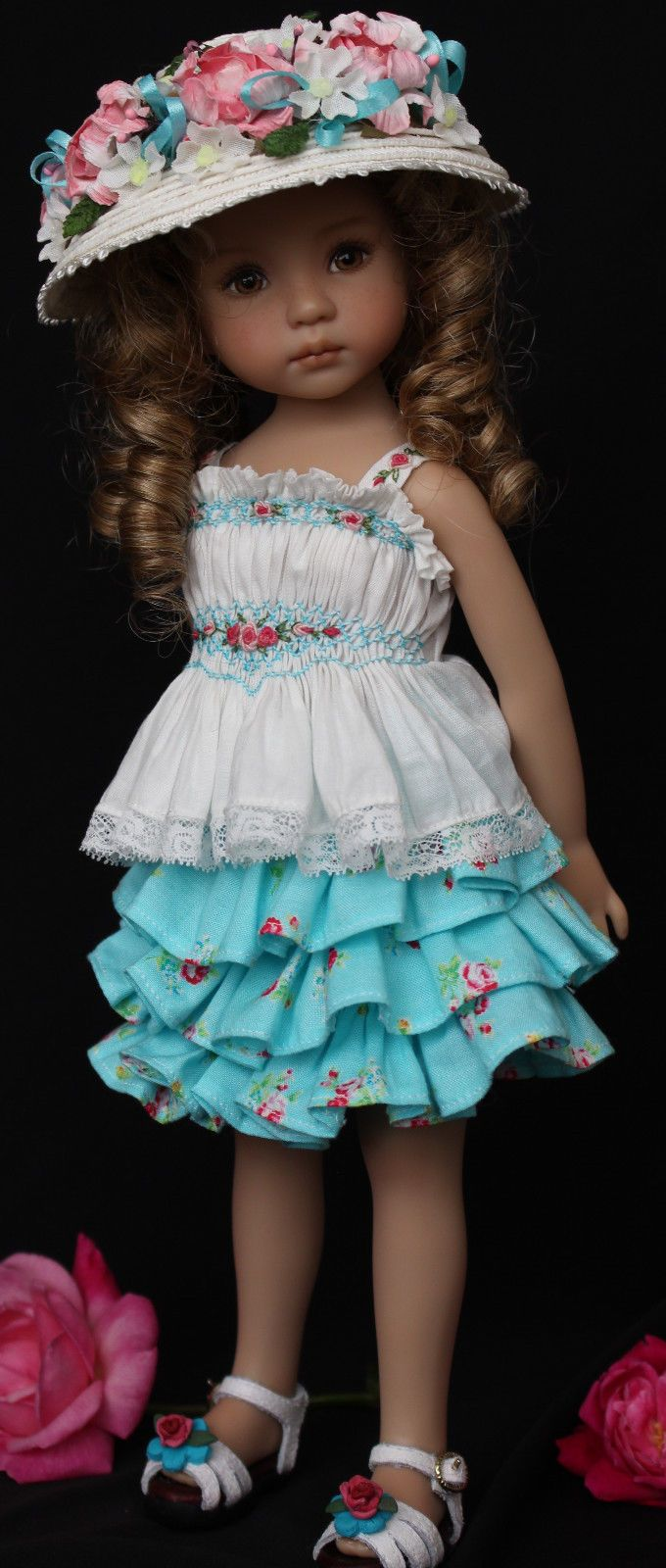 """Smocked Embroidered Outfit for Dianna Effner's 13"""" Little Darling Dolls, straw hat"""