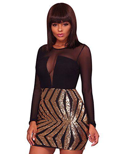 New Joseph Costume Women Sexy Long Sleeve Sheer Mesh Paneled Top Sequin Bodycon Mini Dress Clubwear online. Find the  great OWIN Dresses from top store. Sku jqzu56387esta54104