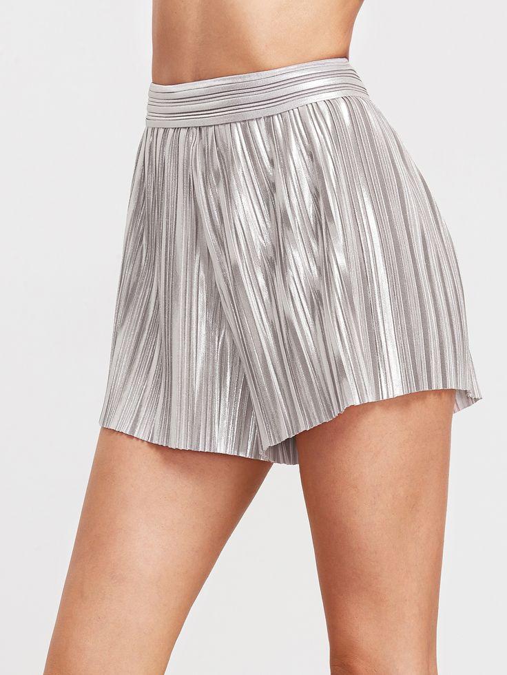 Shop Metallic Silver Elastic Waist Pleated Shorts online. SheIn offers Metallic Silver Elastic Waist Pleated Shorts & more to fit your fashionable needs.