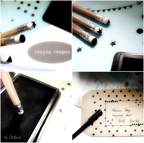 Make your own (mini) stamps from erasers on the end of pencils. Cute; LD