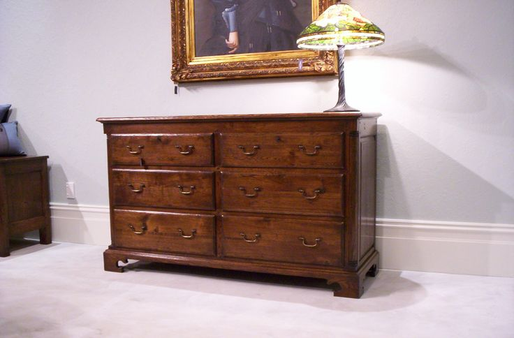 6 Drawer Quarter Turned Lowboy - French oak - French Polish Finish   1560 x 560 x 920(H)