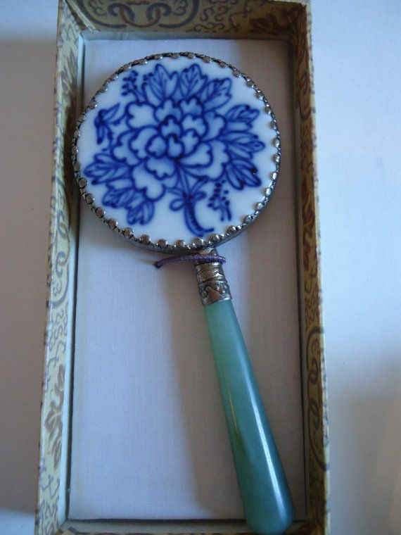 Antique Chinese Jade Handle Handpainted Blue Floral
