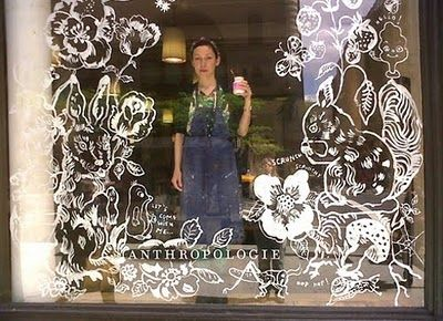 hand drawn window displays - work windows