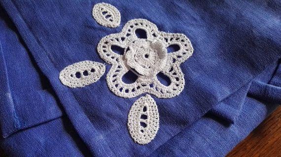Coppia di asciugamani in lino con di CrochetLacesAndMore su Etsy
