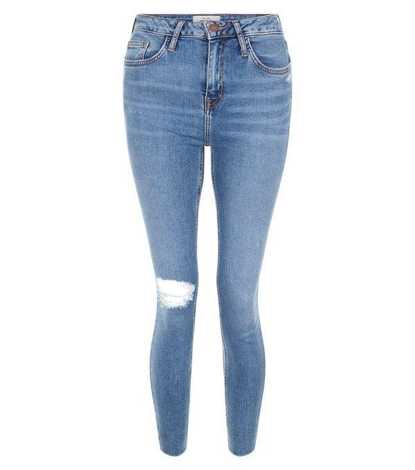 *NEW LOOK || Blue ripped knee notch hem skinny jeans | Vaqueros ajustados azules rasgados en la rodilla
