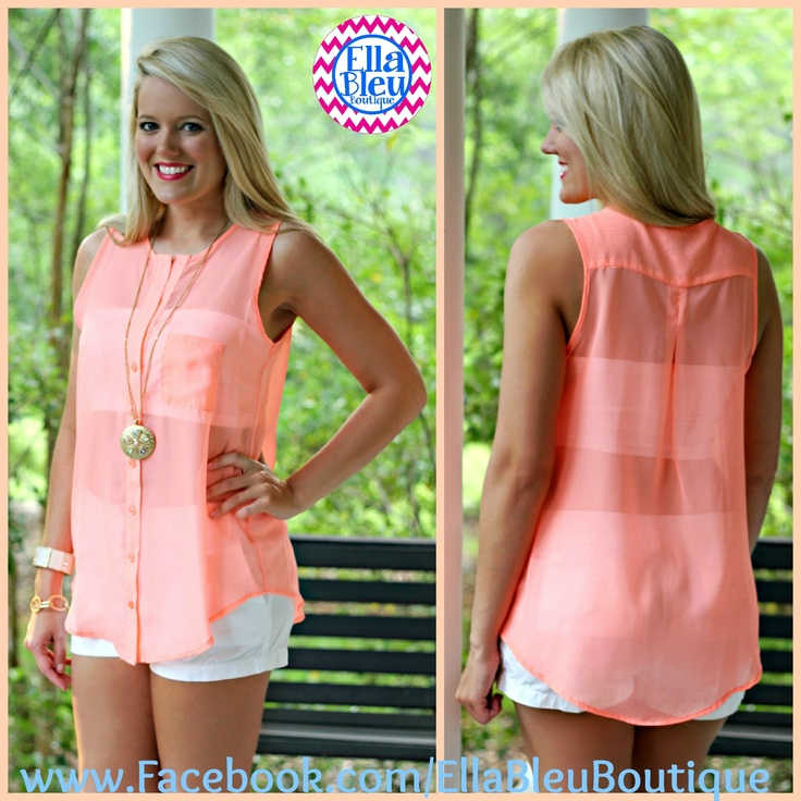 """""""Sheer Show"""" Button Up Tank in Coral!  New from Ella Bleu Boutique! Shop on FB at www.Facebook.com/EllaBleuBoutique"""