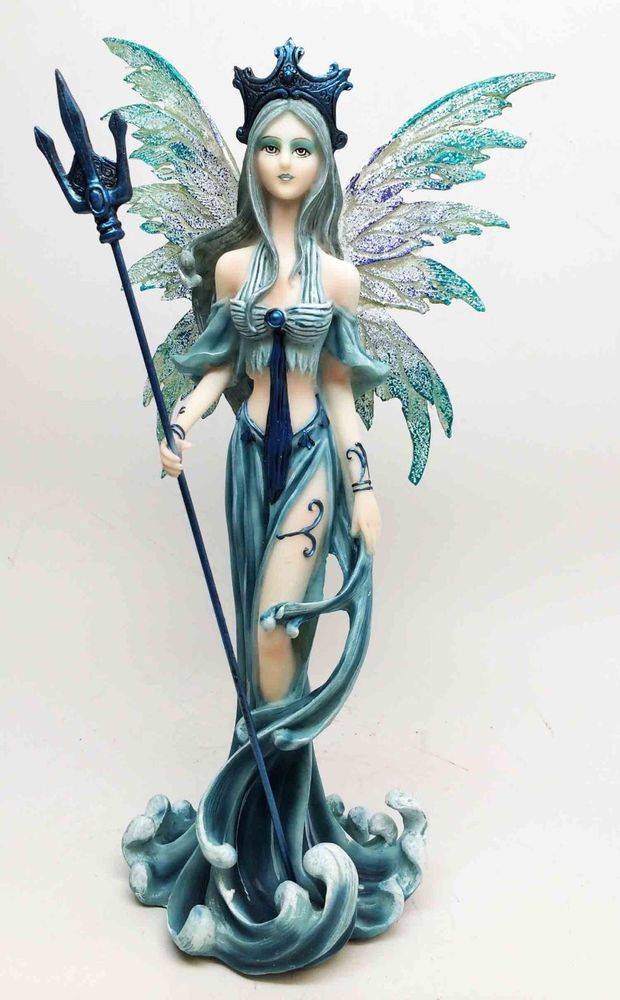 Queen of the Ocean Fairy with Poseidon Trident Fantasy Statue Magic Figurine