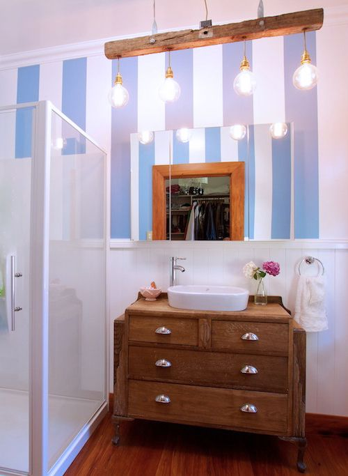 Pantone Colour of the Year 2016: the tones of Pantone Serenity can be found in Resene Polo Blue, painted in stripes in this vintage bathroom.