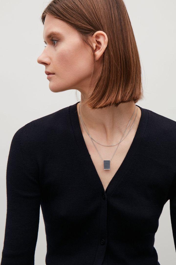 COS image 3 of Semi-precious stone layered necklace in Silver