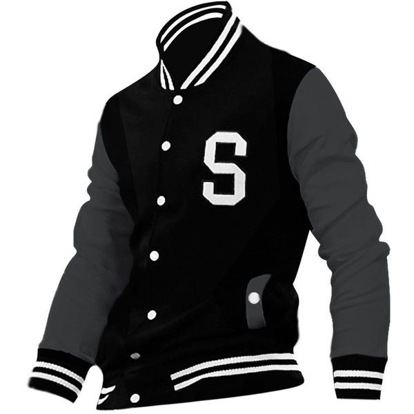 Allegra K Men Long Sleeve Letters Varsity Jacket ($16) ❤ liked on Polyvore featuring men's fashion, men's clothing, men's outerwear, men's jackets, mens varsity jacket, mens varsity bomber jacket, mens jackets and mens letterman jacket