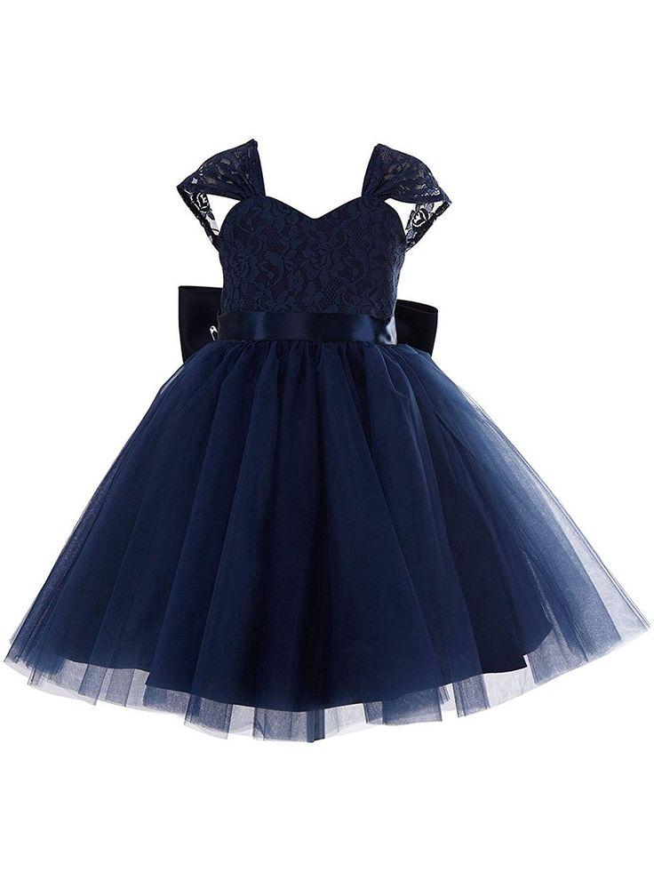 New Princess Sweetheart Lace Tulle Tea-length Bow Dark Navy Flower Girl Dresses