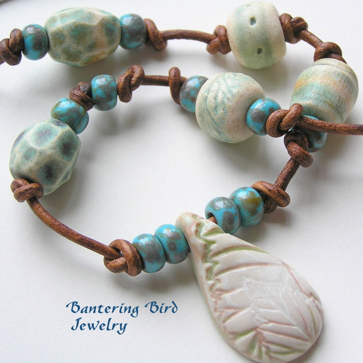 ceramic leaf and bead necklace