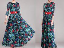 Floral lange mouw diner maxi jurken